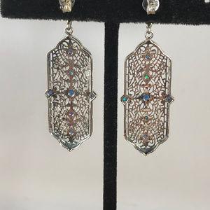 Gem Emporium Jewelry - Blue Sapphire & Opal 925 Silver Art Deco Earrings